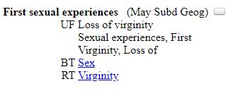 "hierarchical structure of ""First sexual experiences"" LCSH"